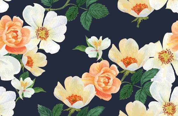 Aquarela botânica da flor do teste padrão, cartão dos obrigados, ilustração da cópia de matéria têxtil Vetor grátis