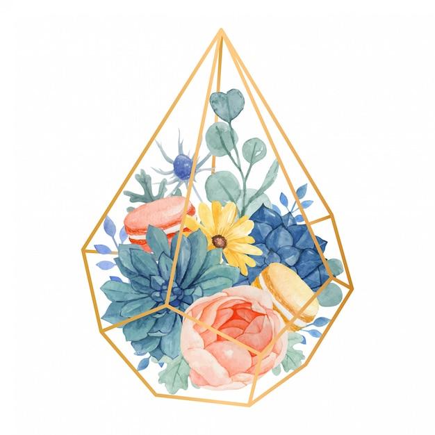 Aquarela bouquet floral em terrário geométrico de ouro com rosa, margarida amarela. eucalipto, moleiro empoeirado, suculentas e macaroons Vetor Premium