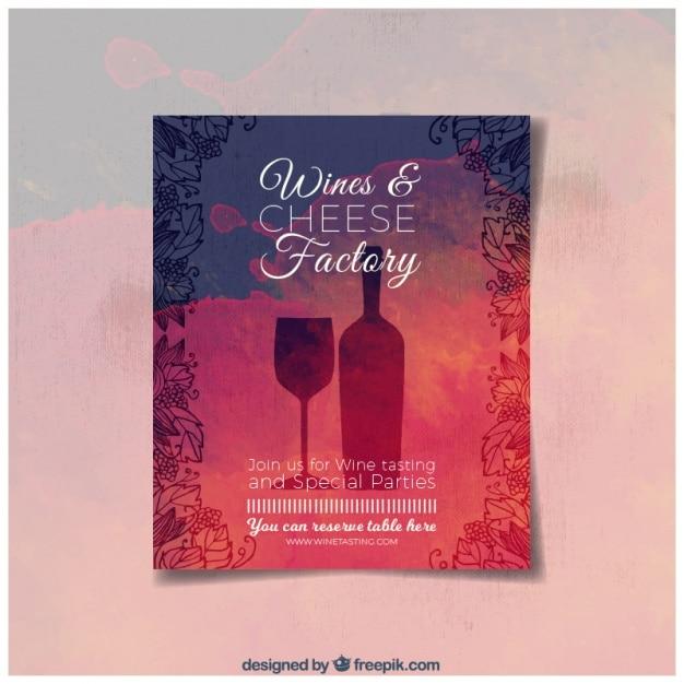 Aquarela brochura vinho e esboços Vetor grátis
