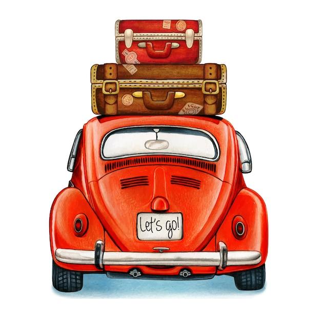 Aquarela carro antigo brilhante com vista traseira de bagagem Vetor Premium