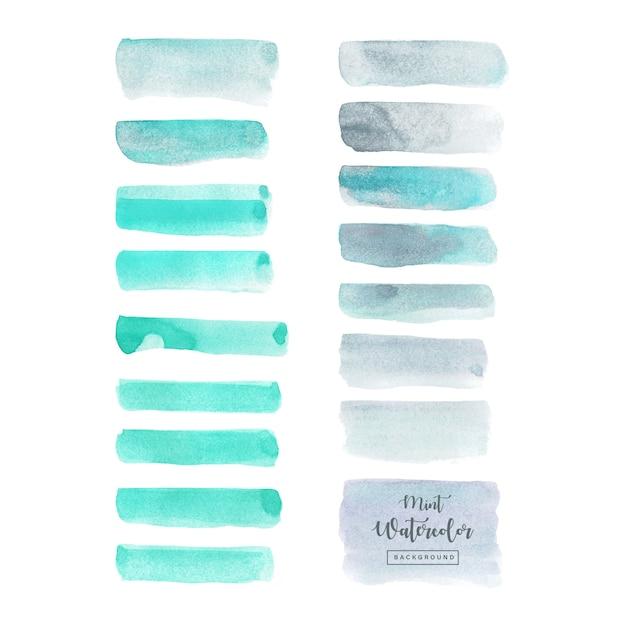 Aquarela cinza azul conjunto isolado no fundo branco Vetor Premium