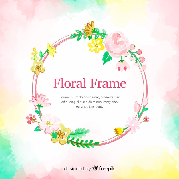 Aquarela circulou o quadro com fundo de flores Vetor grátis