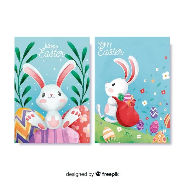 Aquarela coleção de cartão de dia de páscoa Vetor grátis