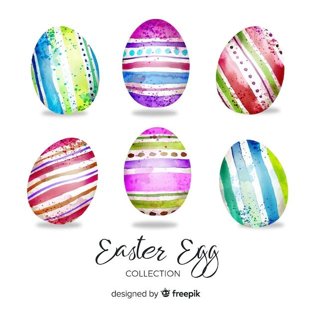 Aquarela coleção de ovos de páscoa dia Vetor grátis
