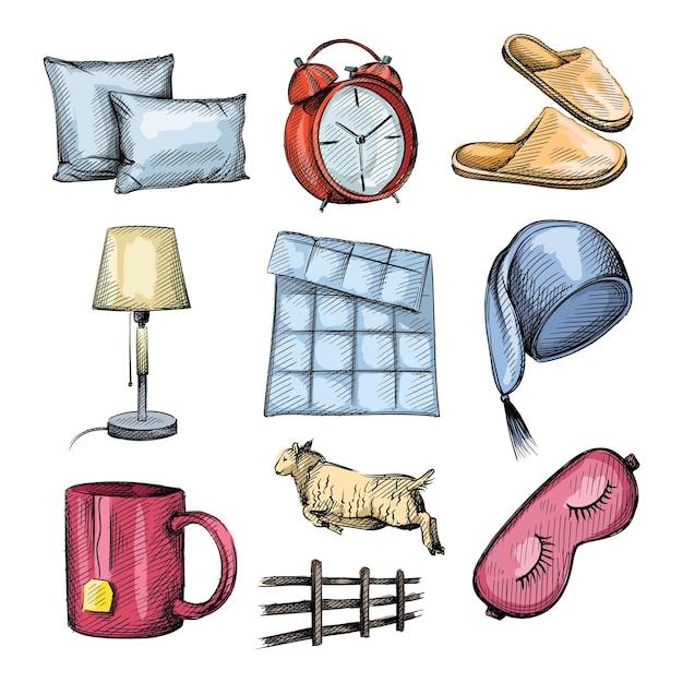 Aquarela colorfull esboço conjunto de atributos de hora de dormir. Vetor Premium