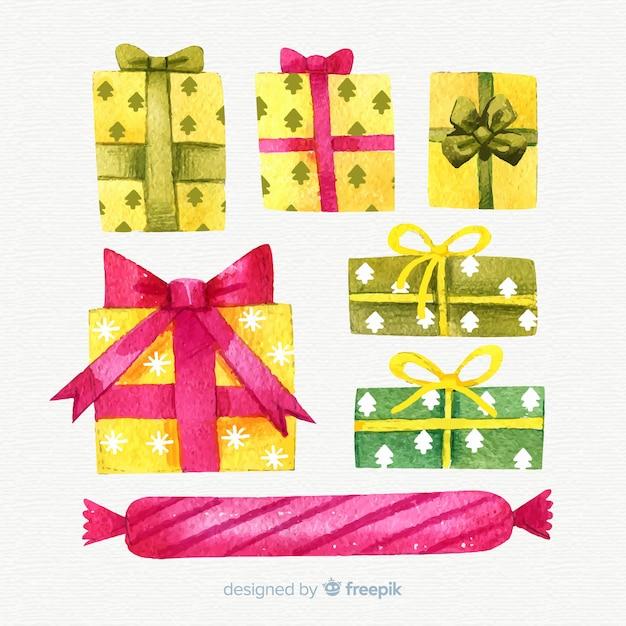 Aquarela colorida coleção de caixas de presente de natal Vetor grátis