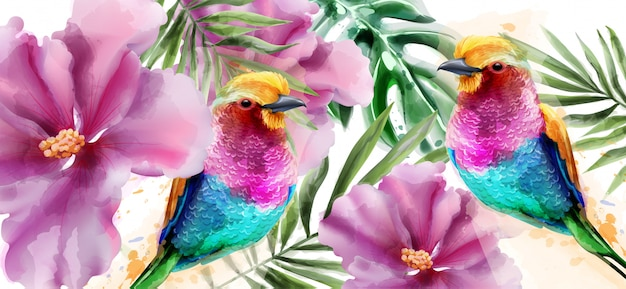Aquarela colorida de pássaros e flores Vetor Premium