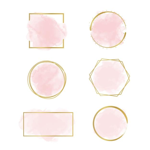 Aquarela com design de logotipo linear dourado Vetor Premium