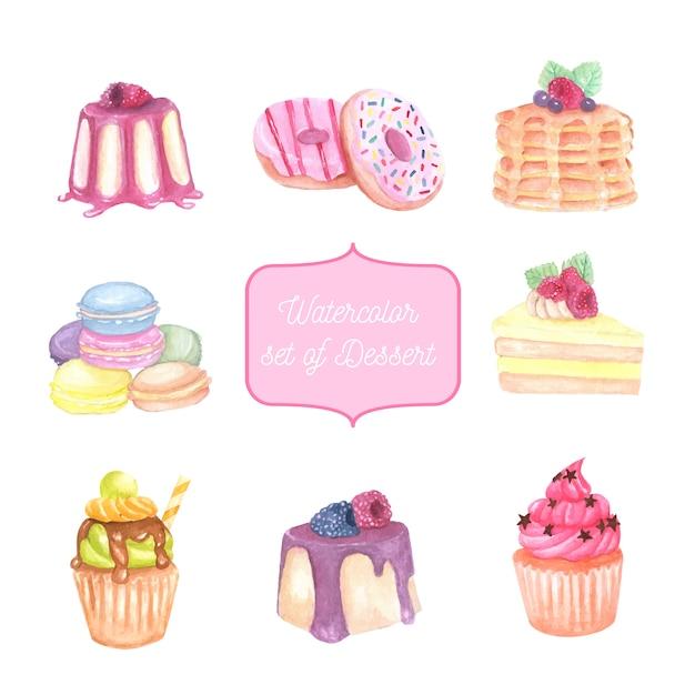 Aquarela conjunto de sobremesa, bolo e cupcake Vetor Premium