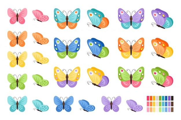 Aquarela cores borboletas isoladas. borboleta bonita vector conjunto com paleta de primavera para criança Vetor Premium