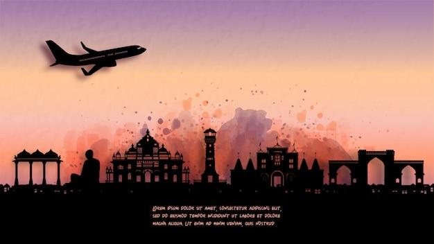 Aquarela de ahmedabad, índia silhueta skyline e famoso ponto turístico. Vetor Premium