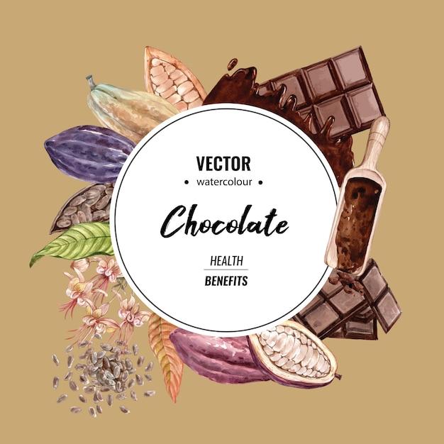 Aquarela de árvores de ramo chocolate cacau com barra de chocolate, ilustração Vetor grátis