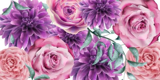 Aquarela de banner de flores de primavera Vetor Premium