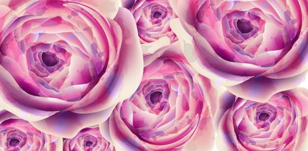 Aquarela de banner de flores de verão Vetor Premium