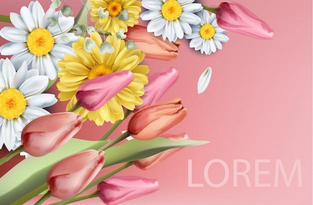Aquarela de buquê de flores daisy e tulipas Vetor Premium