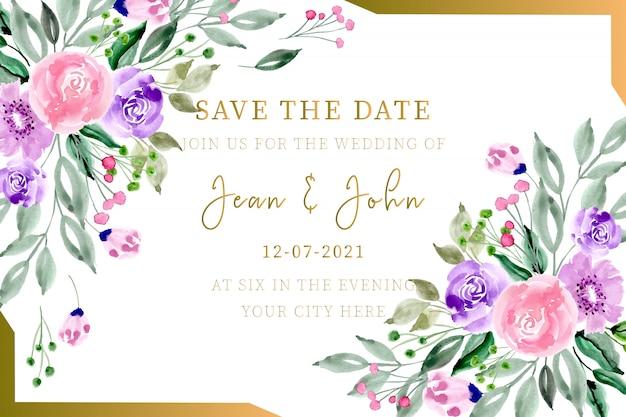 Aquarela de cartão de convite de casamento floral com moldura de ouro Vetor Premium