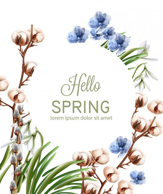 Aquarela de cartão de flores de algodão Vetor Premium