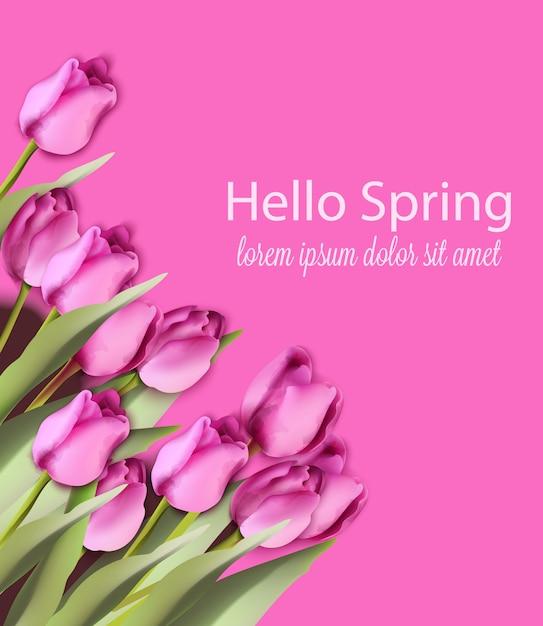Aquarela de cartão de tulipas rosa Vetor Premium