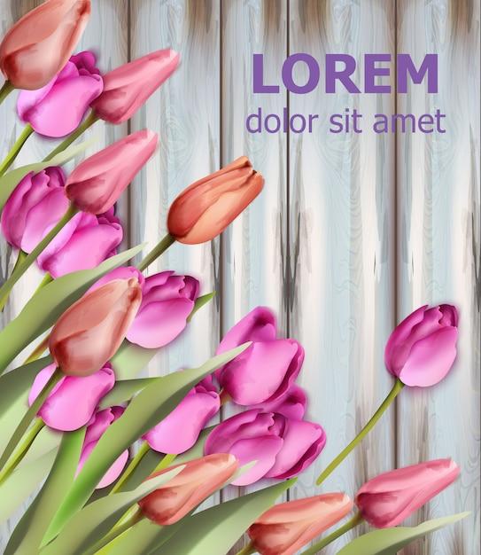 Aquarela de cartão de tulipas Vetor Premium