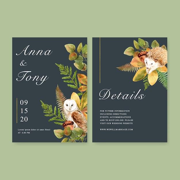 Aquarela de convite de casamento com belo tema de outono Vetor grátis