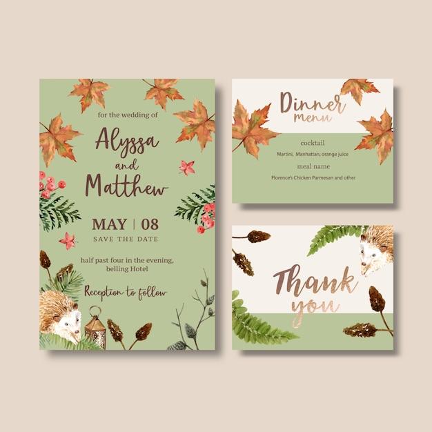Aquarela de convite de casamento com outono pastel Vetor grátis