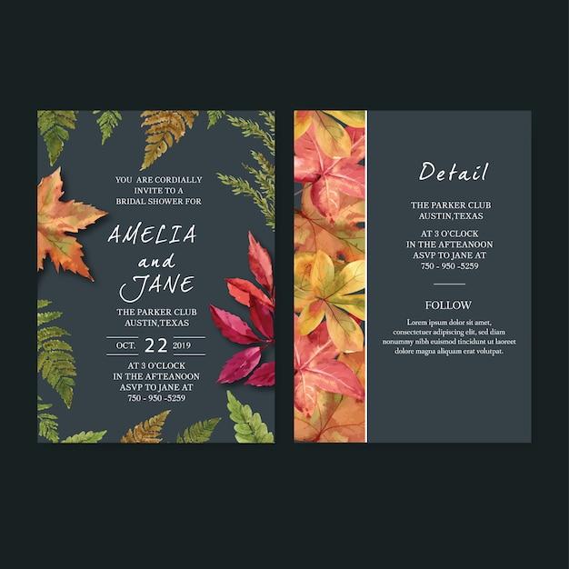 Aquarela de convite de casamento com tema de outono Vetor grátis