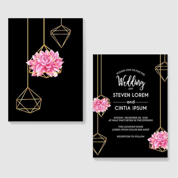Aquarela de dália de convites de casamento e ouro geométrico Vetor Premium
