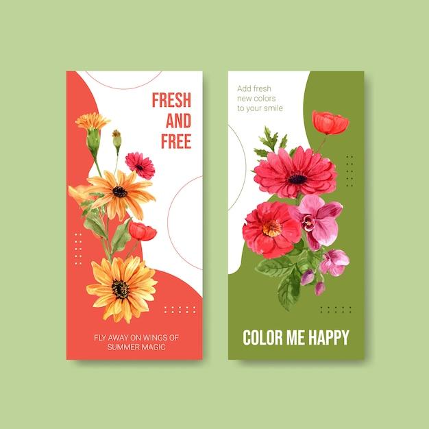 Aquarela de design de modelo de panfleto de flor de verão Vetor grátis