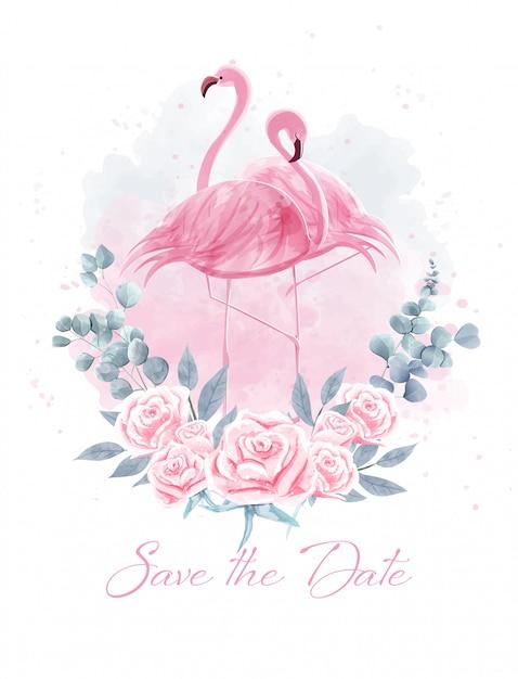 Aquarela de flamingos casal entre rosas. Vetor Premium