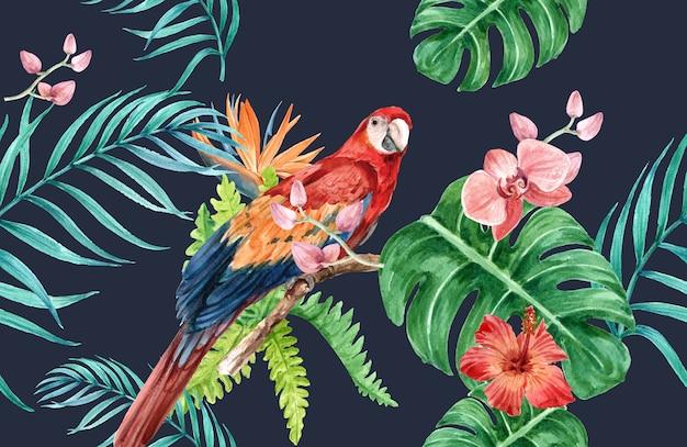 Aquarela de flor tropical padrão, cartão de agradecimento, ilustração de impressão têxtil Vetor grátis