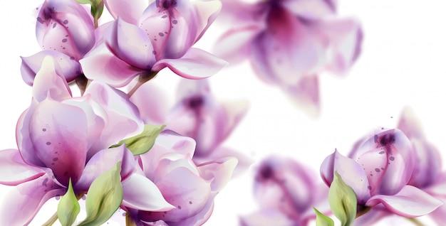 Aquarela de flores de orquídea. Vetor Premium