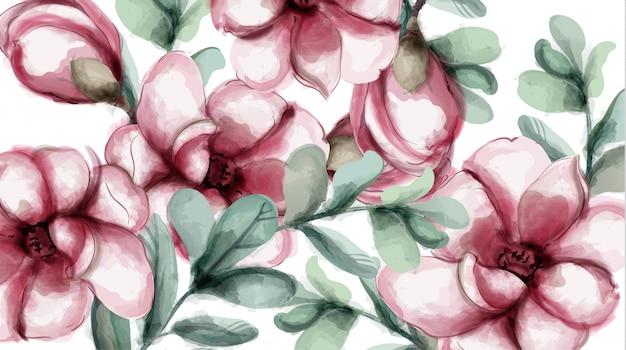 Aquarela de fundo de flores tropicais Vetor Premium