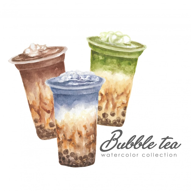 Aquarela de ilustração de cartaz de jogo de chá de bolha Vetor Premium