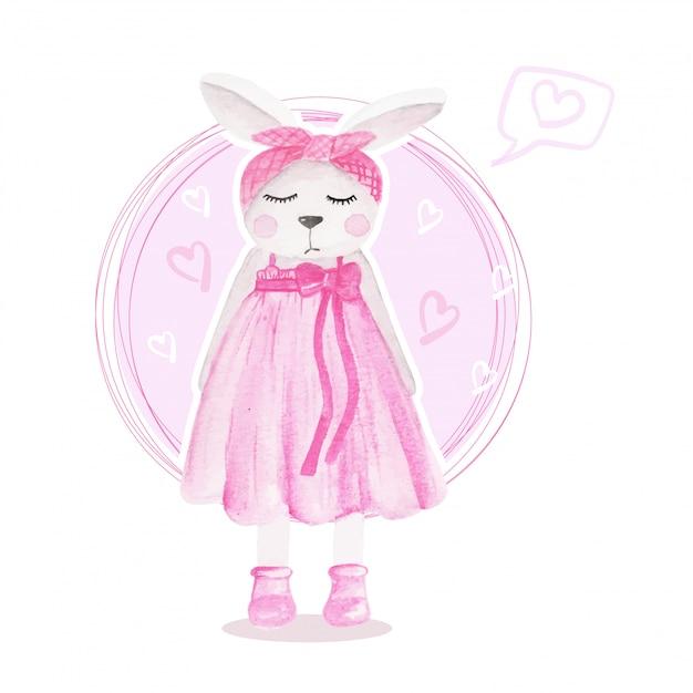 Aquarela de ilustração rosa menina coelho bonito Vetor Premium