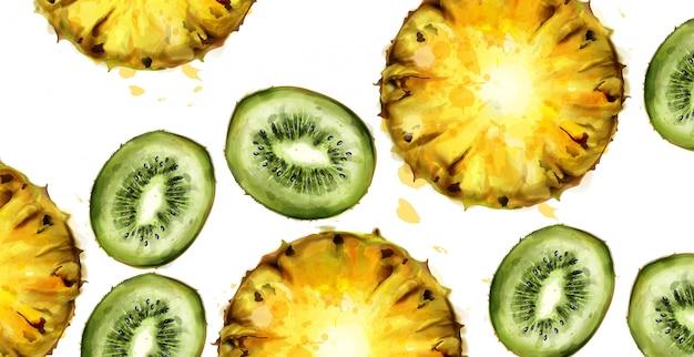 Aquarela de padrão de kiwi e abacaxi Vetor Premium