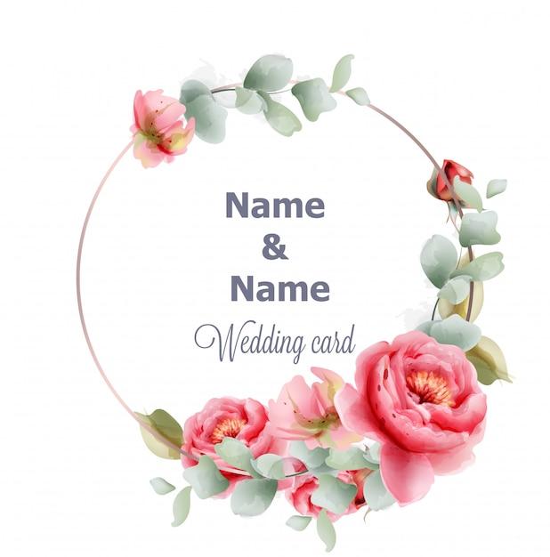 Aquarela de peônia de quadro redondo casamento Vetor Premium