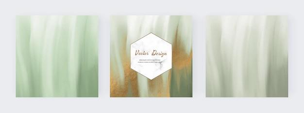 Aquarela de pincelada verde com textura de glitter dourado para banners de mídia social Vetor Premium