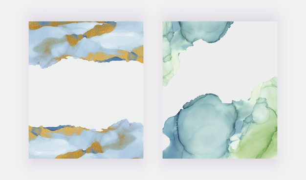 Aquarela de tinta álcool verde e azul com origens de textura de glitter dourados. Vetor Premium