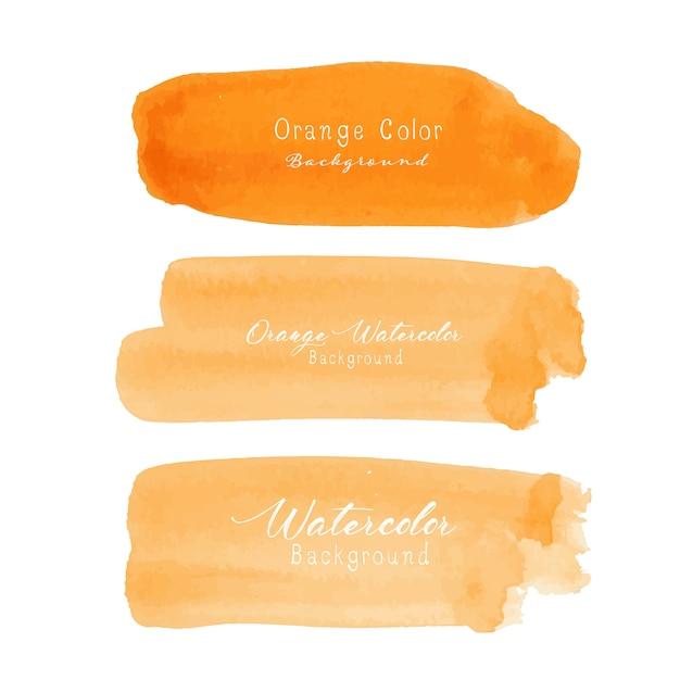 Aquarela de traçado de pincel laranja em fundo branco. Vetor Premium