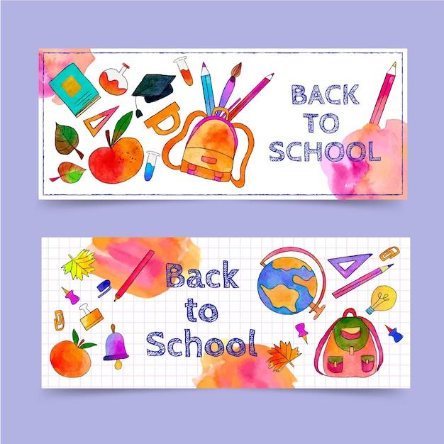 Aquarela de volta à coleção de banners de escola Vetor grátis
