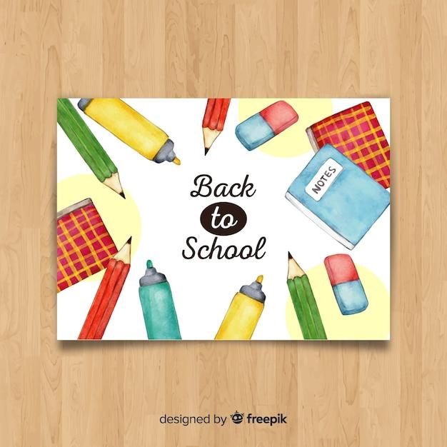 Aquarela de volta ao modelo de cartão de escola Vetor grátis