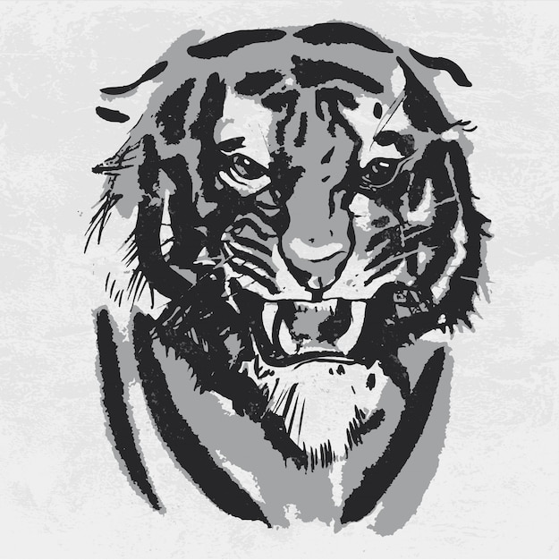Aquarela, desenho de tigre com raiva. Vetor Premium