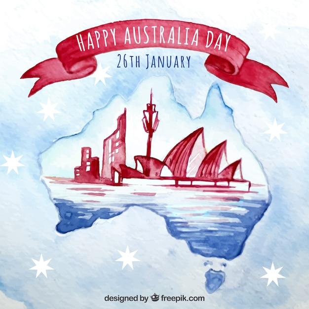 Aquarela design do dia de austrália com horizonte de sydney Vetor grátis