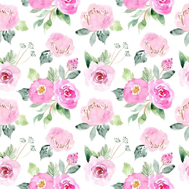 Aquarela doce rosa padrão floral Vetor Premium
