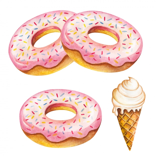 Aquarela donut isolado no fundo branco. Vetor Premium