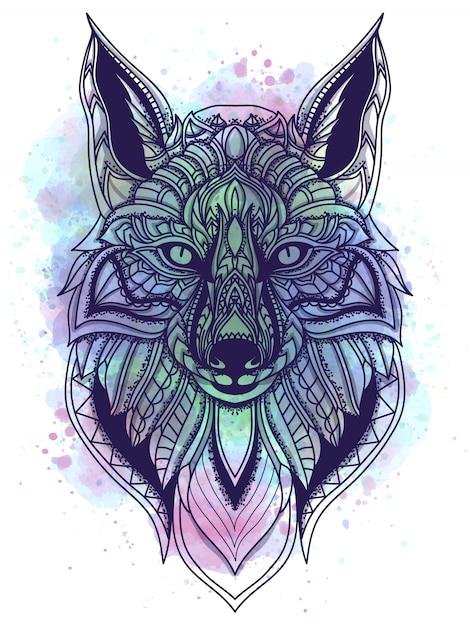 Aquarela e ilustração em vetor linha arte raposa Vetor Premium