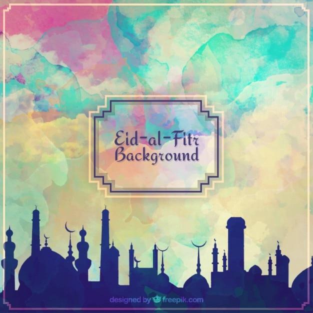 Aquarela eid al fitr fundo ramadan Vetor grátis