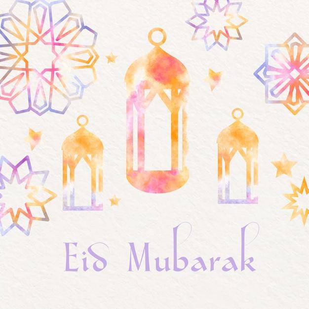 Aquarela eid mubarak com lanternas e ornamentos de estrelas Vetor grátis