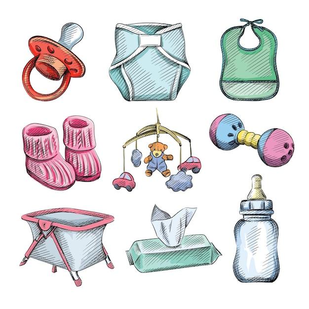 Aquarela esboço colorido conjunto de itens de bebê e crianças. Vetor Premium