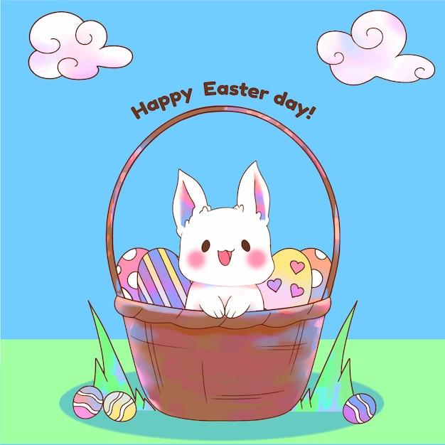 Aquarela feliz dia de páscoa com coelho na cesta Vetor grátis